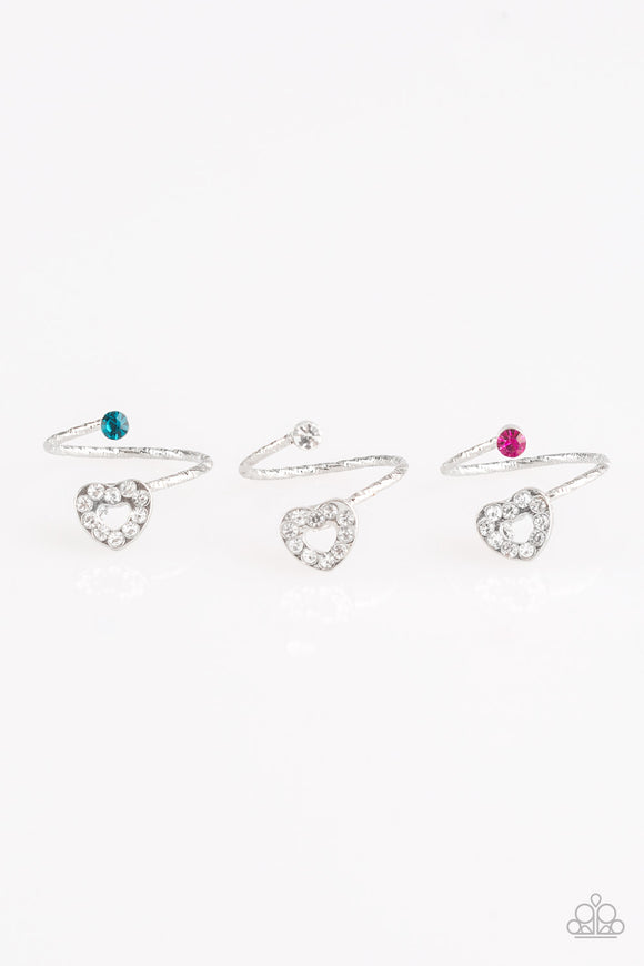 Girl's Starlet Shimmer Set of 5 Multi Color Pink Red White Blue Rhinestone Stenciled Heart Valentine Silver Rings Paparazzi Jewelry