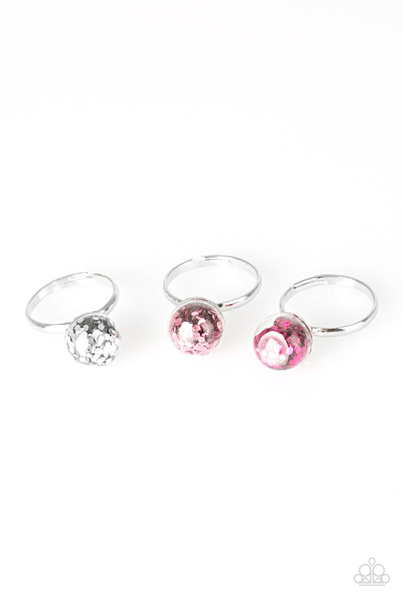 Girl's Starlet Shimmer Multi Color Pink Red White Gold Silver Red Confetti Clear Ball Ring Paparazzi Jewelry