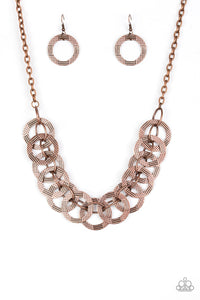 "Paparazzi ""The Main Contender"" Copper Diamond Cut Circle Design Necklace & Earring Set Paparazzi Jewelry"