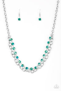 "Paparazzi ""Block Party Princess"" Green Iridescent Bead Silver Chain Necklace & Earring Set Paparazzi Jewelry"