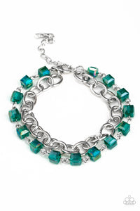 "Paparazzi ""Life Of The Block Party"" Green Iridescent Bead Silver Chain Bracelet Paparazzi Jewelry"