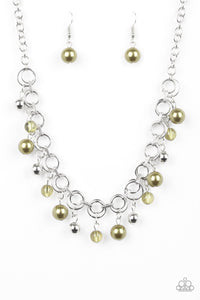 "Paparazzi ""Fiercely Fancy"" Green Bead Silver Hoop Necklace & Earring Set Paparazzi Jewelry"