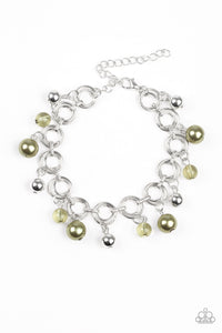 "Paparazzi ""Fancy Fascination"" Green Bead Silver Hoop Bracelet Paparazzi Jewelry"