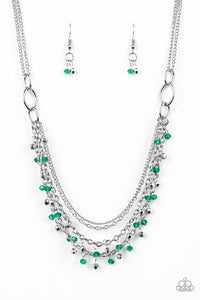 "Paparazzi ""Financially Fabulous"" Green and Silver Crystal Like Bead Necklace & Earring Set Paparazzi Jewelry"