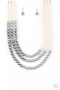 "Paparazzi ""Times Square Starlet"" Multi White Silver and Gray Pearl Necklace & Earring Set Paparazzi Jewelry"