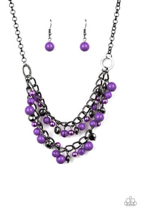 "Paparazzi ""Watch Me Now"" Purple Pearly & Faceted Gunmetal Bead Necklace & Earring Set Paparazzi Jewelry"