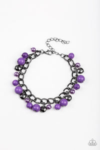 "Paparazzi ""Hold My Drink"" Purple Pearly & Faceted Gunmetal Bead Bracelet Paparazzi Jewelry"