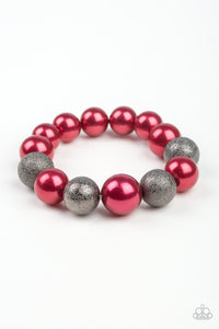 "Paparazzi ""Humble Hustle"" Red Pearl and Gray Sparkly Bead Bracelet Paparazzi Jewelry"
