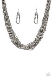 "Paparazzi ""The Speed of Starlight"" Gunmetal Seed Bead Necklace & Earring Set Paparazzi Jewelry"