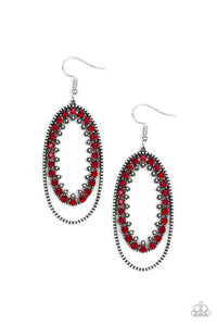 "Paparazzi ""Marry Into Money"" Red and White Rhinestone Silver Oval Hoop Earrings Paparazzi Jewelry"