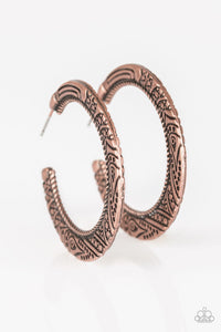 "Paparazzi ""New Zealand Native"" Copper Embossed Tribal Hoop Earrings Paparazzi Jewelry"