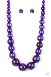 "Paparazzi ""Effortlessly Everglades"" Purple Wooden Bead Necklace & Earring Set Paparazzi Jewelry"