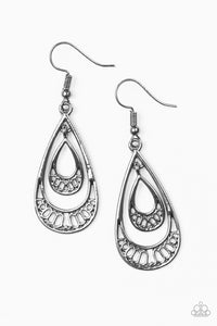 "Paparazzi ""Reigned Out"" Black Gunmetal Double Teardrop Hoop Earrings Paparazzi Jewelry"