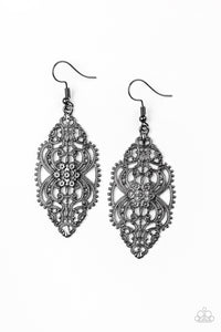 "Paparazzi ""Ornately Ornate"" Black Gunmetal Filigree Earrings Paparazzi Jewelry"