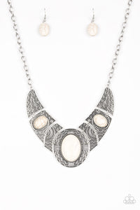 "Paparazzi ""Leave Your LANDMARK"" White Stone Silver Ornate Plate Necklace & Earring Set Paparazzi Jewelry"