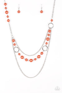 "Paparazzi ""Party Dress Princess"" Orange Pearly Bead Silver Chain Necklace & Earring Set Paparazzi Jewelry"