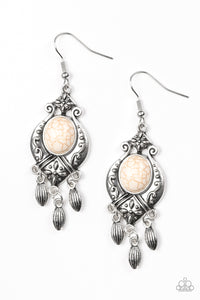 "Paparazzi ""Enchantingly Environmentalist"" White Stone Silver Floral Design Earrings Paparazzi Jewelry"