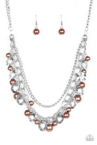 "Paparazzi ""Hoppin Hearts"" Brown Pearly and Silver Heart Disc Necklace & Earring Set Paparazzi Jewelry"
