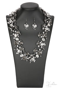 "Paparazzi ""Phenomenon"" Smoky & White Rhinestone Gunmetal Frame Zi Collection Necklace & Earring Set Paparazzi Jewelry"