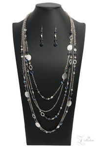 "Paparazzi ""Harmonious"" Silver Shimmer Chain Metallic Accent Zi Collection Necklace & Earring Set Paparazzi Jewelry"