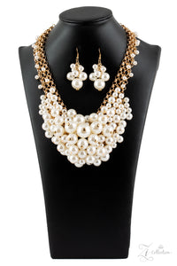 "Paparazzi ""Exec-YOU-tive"" White Pearl Gold Chain Zi Collection Necklace & Earring Set Paparazzi Jewelry"