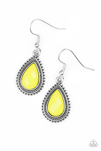 "Papatrazzi ""Summer Vacay"" Yellow Faceted Teardrop Bead Silver Earrings Paparazzi Jewelry"