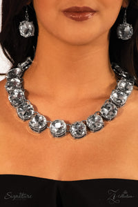 "Paparazzi ""The Marissa"" White Multi Faceted Quarter Size Gem Zi Collection Necklace & Earring Set Paparazzi Jewelry"