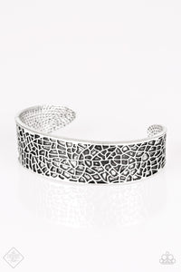 "Paparazzi ""Nature Mode"" FASHION FIX Simply Santa Fe August 2018 Silver Textured Cuff Bracelet Paparazzi Jewelry"