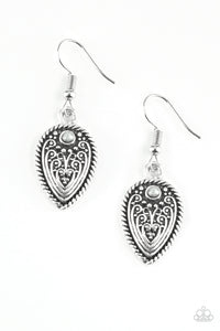 "Paparazzi ""Distance PASTURE"" Silver Bead Antiqued Textured Earrings Paparazzi Jewelry"