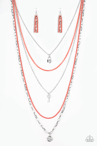 "Paparazzi ""Right on Key"" Orange Silver Heart Lock Key Necklace & Earring Set Paparazzi Jewelry"