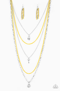 "Paparazzi ""Right on Key"" Yellow Silver Heart Lock Key Necklace & Earring Set Paparazzi Jewelry"