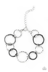 "Paparazzi ""Ring Up The Curtain"" Multi Silver and Gunmetal Hoop Interlocking Ring Bracelet Paparazzi Jewelry"