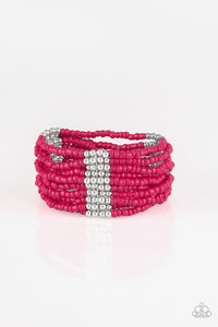 "Paparazzi ""Outback Odyssey"" Pink Seed Bead Silver Accent Stretchy Bracelet Paparazzi Jewelry"