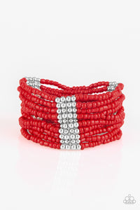 "Paparazzi ""Outback Odyssey"" Red Seed Bead Silver Accent Stretchy Bracelet Paparazzi Jewelry"