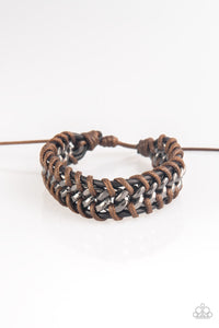 "Paparazzi ""Racer Edge"" Brown Knotted Cord Cord Gunmetal Chain Bracelet Paparazzi Jewelry"