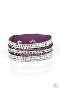 "Paparazzi ""Fashion Fanatic"" Purple Suede Silver Chain White Rhinestone Wrap Bracelet Paparazzi Jewelry"