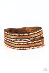 "Paparazzi ""Rocker Rivalry"" Copper Chain Metallic Rhinestone Brown Suede Double Wrap Bracelet Paparazzi Jewelry"