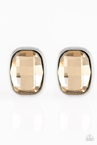 "Paparazzi ""Incredibly Iconic"" Brown Faceted Gem Silver Post Earrings Paparazzi Jewelry"