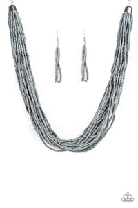 "Paparazzi ""The Show Must CONGO On!"" Silver Gray Seed Bead Necklace & Earring Set Paparazzi Jewelry"
