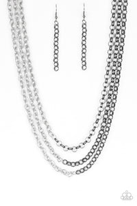 "Paparazzi ""Metro Madness"" Black Gunmetal and Silver Chain Necklace & Earring Set Paparazzi Jewelry"