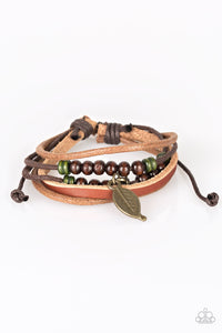 "Paparazzi ""Need More Nature"" Brown Leather Wooden Bead Brass Leaf Charm Urban Bracelet Unisex Paparazzi Jewelry"