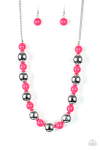 "Paparazzi ""Top Pop"" Pink & Silver Bead Necklace & Earring Set Paparazzi Jewelry"