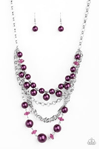 "Paparazzi ""Rockin Rockette"" Purple Pearl & Crystal Like Bead Silver Necklace & Earring Set Paparazzi Jewelry"