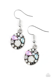 "Paparazzi ""Pretty Perennial"" Multi Color Pink Green Rhinestone Silver Flower Earrings Paparazzi Jewelry"