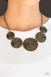 "Paparazzi ""Deserves A Medal"" Brass Spiral Round Plate Necklace & Earring Set Paparazzi Jewelry"