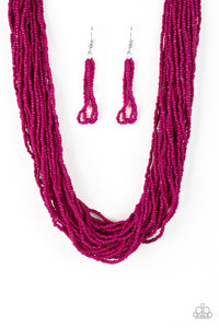"Paparazzi ""The Show Must CONGO On!"" Pink Seed Bead Silver Accent Necklace & Earring Set Paparazzi Jewelry"