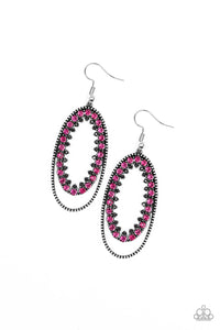 "Paparazzi ""Marry Into Money"" Pink and White Rhinestone Silver Oval Hoop Earrings Paparazzi Jewelry"