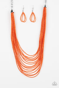 "Paparazzi ""Peacefully Pacific"" Orange Seed Bead Silver Accent Necklace & Earring Set Paparazzi Jewelry"