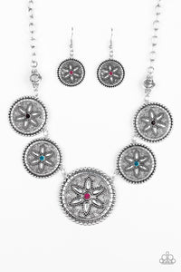"Paparazzi ""Written In The STAR LILIES"" Multi Pink Rhinestone Silver Floral Frame Necklace & Earring Set Paparazzi Jewelry"