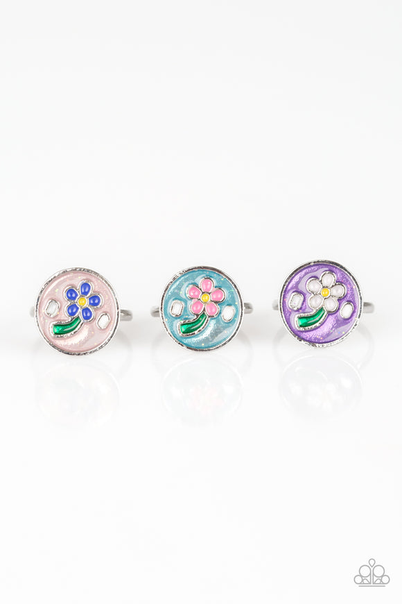 Girl's Starlet Shimmer Set of 5 Multi Color Flower Daisy Rings Paparazzi Jewelry